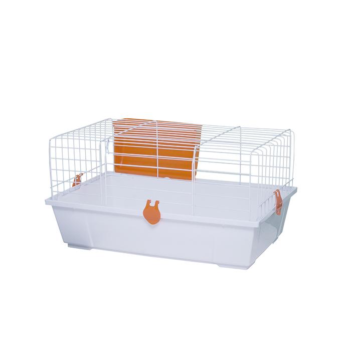 Клетка для кроликов белая, расстояние между прутьями 33,4 мм.