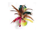 Игрушка Goods for pets для кошек Мяч с перьями, теннисный материал, 6 см.