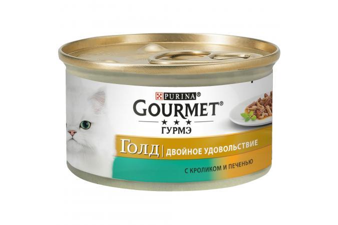 Консервы для кошек Purina Gourmet Gold Двойное удовольствие, кролик и печень, банка, 12*85 г