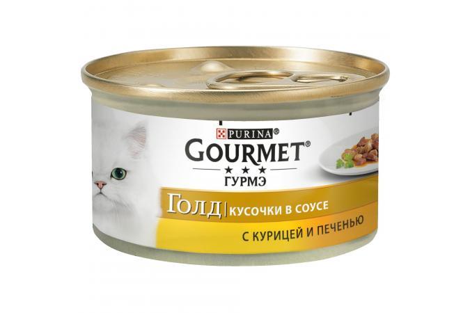 Консервы для кошек Purina Gourmet Gold, курица и печень, банка, 12*85 г