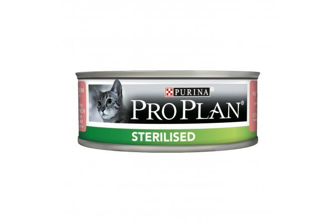 Консервы Purina Pro Plan для стерилизованных кошек и кастрированных котов, лосось и тунец, банка, 12*85 г