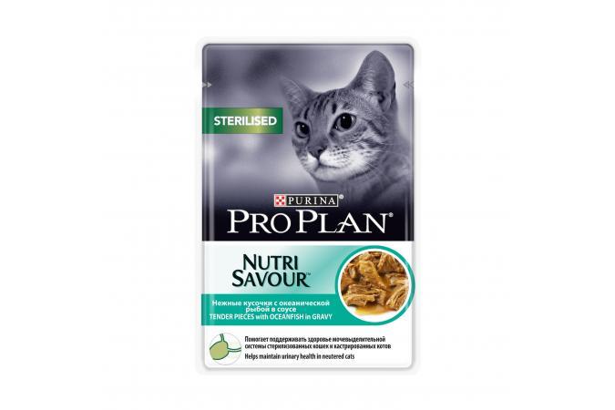 Консервы Purina Pro Plan для стерилизованных кошек и кастрированных котов, океаническая рыба в соусе, пауч, 12*85 г