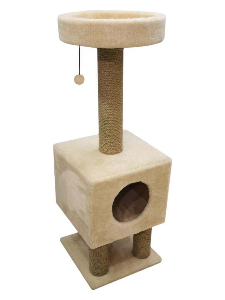 Домик на ножках Cat House с шариком на резинке (мех, джут), 1,05м