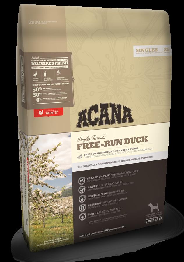 Беззерновой корм для собак всех пород и возрастов Акана Утка (ACANA Free-run Duck)