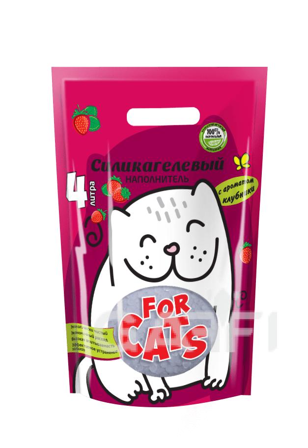 FOR CATS, силикагелевый наполнитель с ароматом клубники