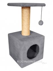 Домик Cat House с полкой с шариком на резинке (мех, сизаль), 65 см Image 1