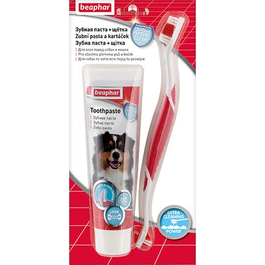 Зубная паста для собак и кошек, 100 гр + щетка